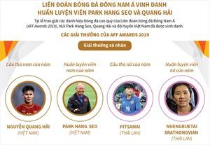 Liên đoàn bóng đá Đông Nam Á vinh danh Huấn luyện viên Park Hang Seo và Quang Hải