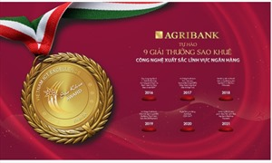 Agribank đạt 9 Giải thưởng Sao Khuê
