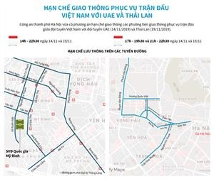 Hạn chế giao thông phục vụ trận đấu giữa Việt Nam với UAE và Thái Lan