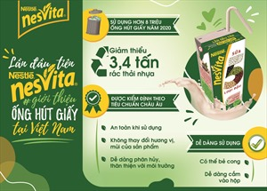 Sữa Nesvita 5 loại đậu tiên phong sử dụng ống hút giấy