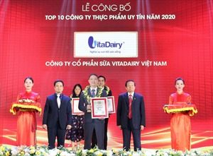 VitaDairy được vinh danh là công ty sữa uy tín nhất Việt Nam