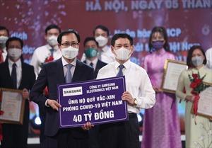 Samsung Việt Nam ủng hộ 56 tỷ đồng chung tay phòng, chống dịch COVID-19
