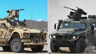 Video phương tiện bọc thép Mỹ ép xe quân sự Nga vào lề đường Syria