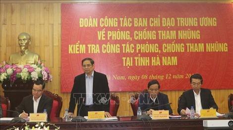 Ban Chỉ đạo Trung ương về phòng, chống tham nhũng làm việc tại Hà Nam