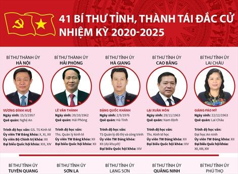 41 Bí thư tỉnh, thành tái đắc cử nhiệm kỳ 2020-2025