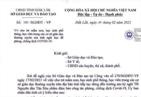 Khẩn trương xác minh đối tượng giả mạo văn bản cho học sinh Đắk Lắk nghỉ học