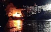 Đang neo đậu, tàu cá bất ngờ cháy trụi
