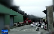Đám cháy lớn thiêu rụi kho hàng sản xuất bao bì ở Ninh Bình