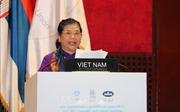 Phó Chủ tịch Thường trực Quốc hội Tòng Thị Phóng phát biểu tại Phiên họp toàn thể Đại hội đồng IPU-141