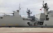 Tàu hộ vệ tên lửa Trần Hưng Đạo tham gia diễu binh trên biển Hàn Quốc