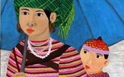 Tác phẩm 'Mẹ và con' của họa sĩ khiếm thính Dương Phương Linh được trưng bày tại Italy
