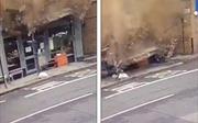 Hy hữu: Người đàn ông suýt bị cả mảng tường lớn rơi trúng người