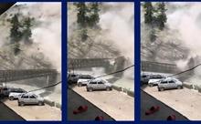 Khoảnh khắc lở đá kinh hoàng đè trúng xe ô tô, làm sập cầu ở Ấn Độ