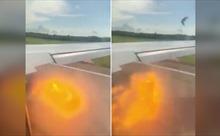 Máy bay Nga phun ra lửa khi va phải đàn đại bàng lúc cất cánh