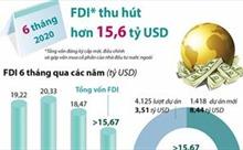 6 tháng năm 2020, thu hút FDI đạt hơn 15,6 tỷ USD