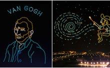 Xem 600 chiếc drone 'vẽ' cuộc đời danh hoạ Van Gogh trên trời đêm
